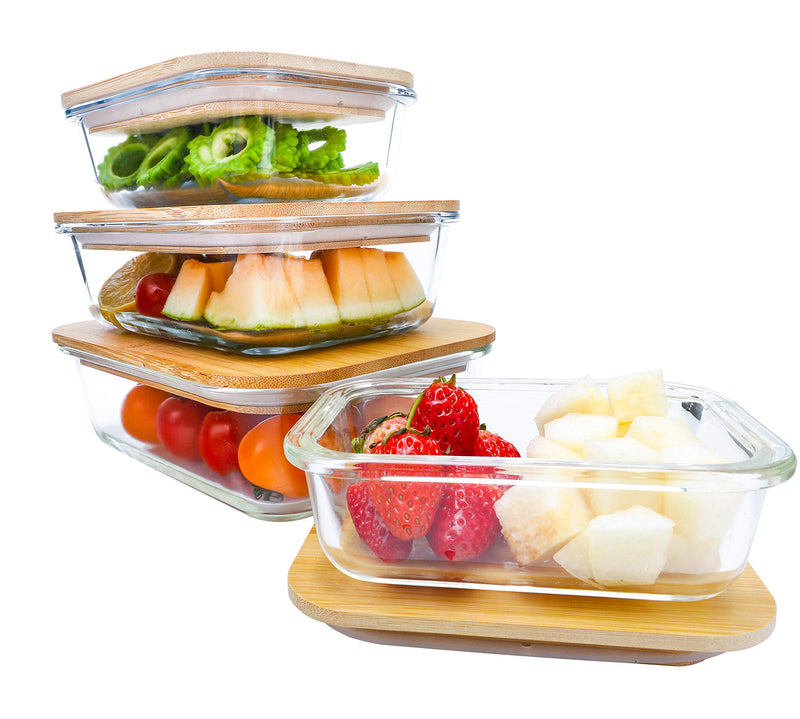 BlueHills Borosilicate Oven Safe Glass containers with Bamboo lids - 4 pack 8 piece set