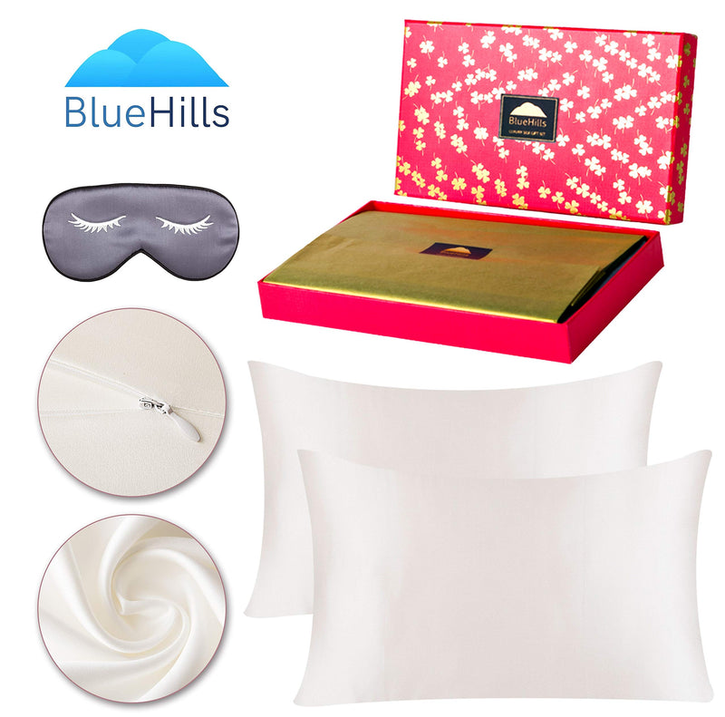 BlueHills 19 MommePure Mulberry Silk Pillowcase 3 piece Gift set - King - Ivory White