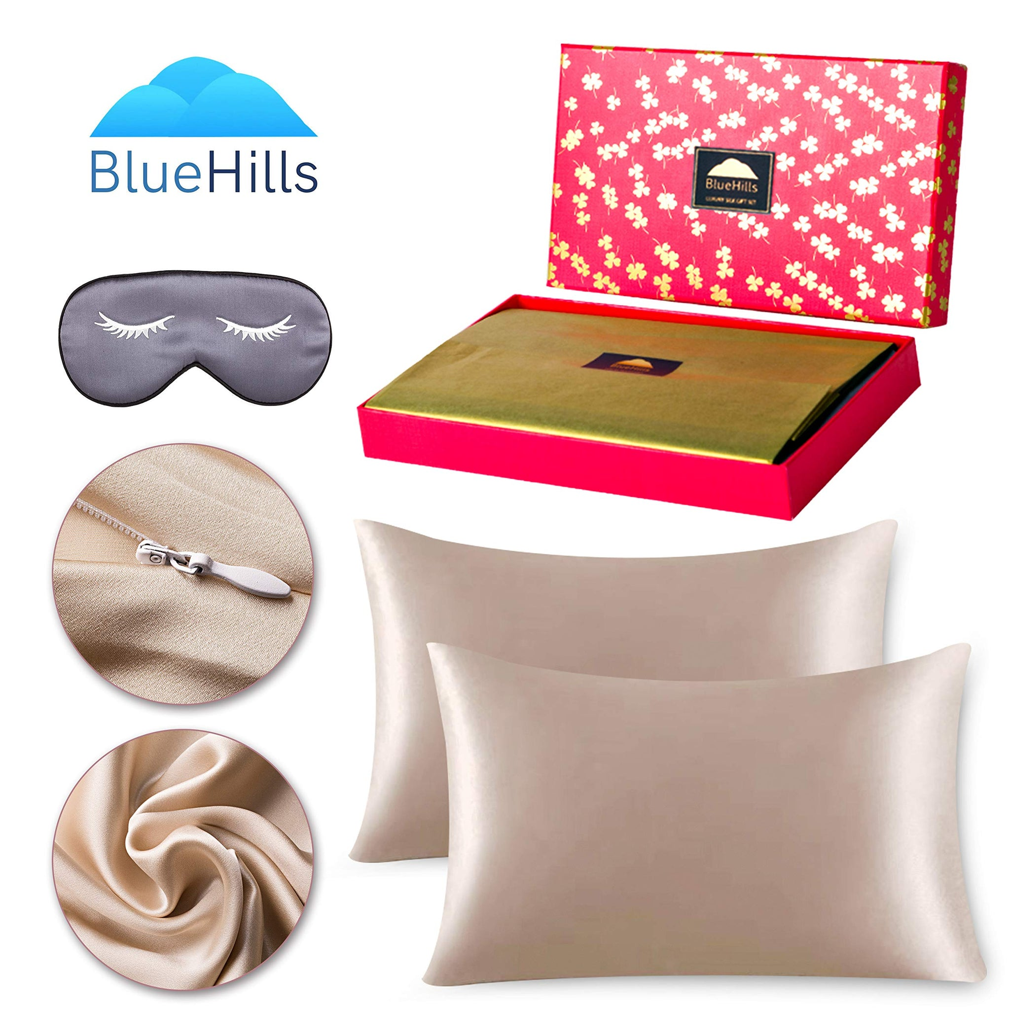 BlueHills 19 MommePure Mulberry Silk Pillowcase 3 piece Gift set -King - Light Bronze