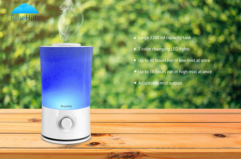 BlueHills  2000 ML Premium Essential Oil Diffuser Humidifier Extra Large Capacity - White