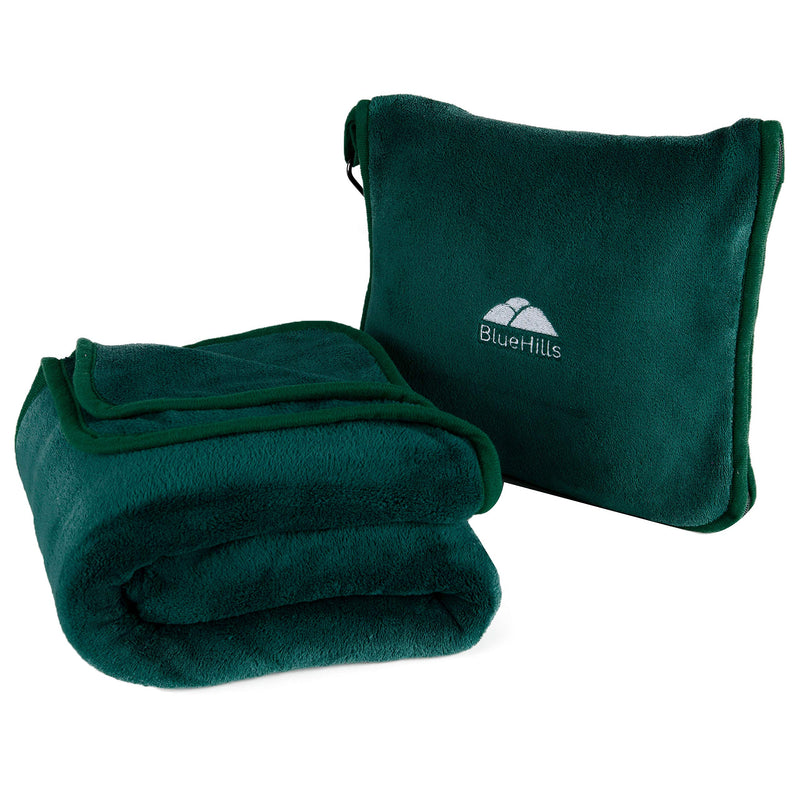 BlueHills Premium Soft Travel blanket pillow -Dark Green