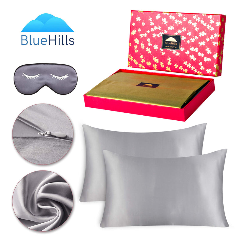 BlueHills 19 Momme Pure Mulberry Silk Pillowcase 3 piece Gift set - Silver Grey - Standard