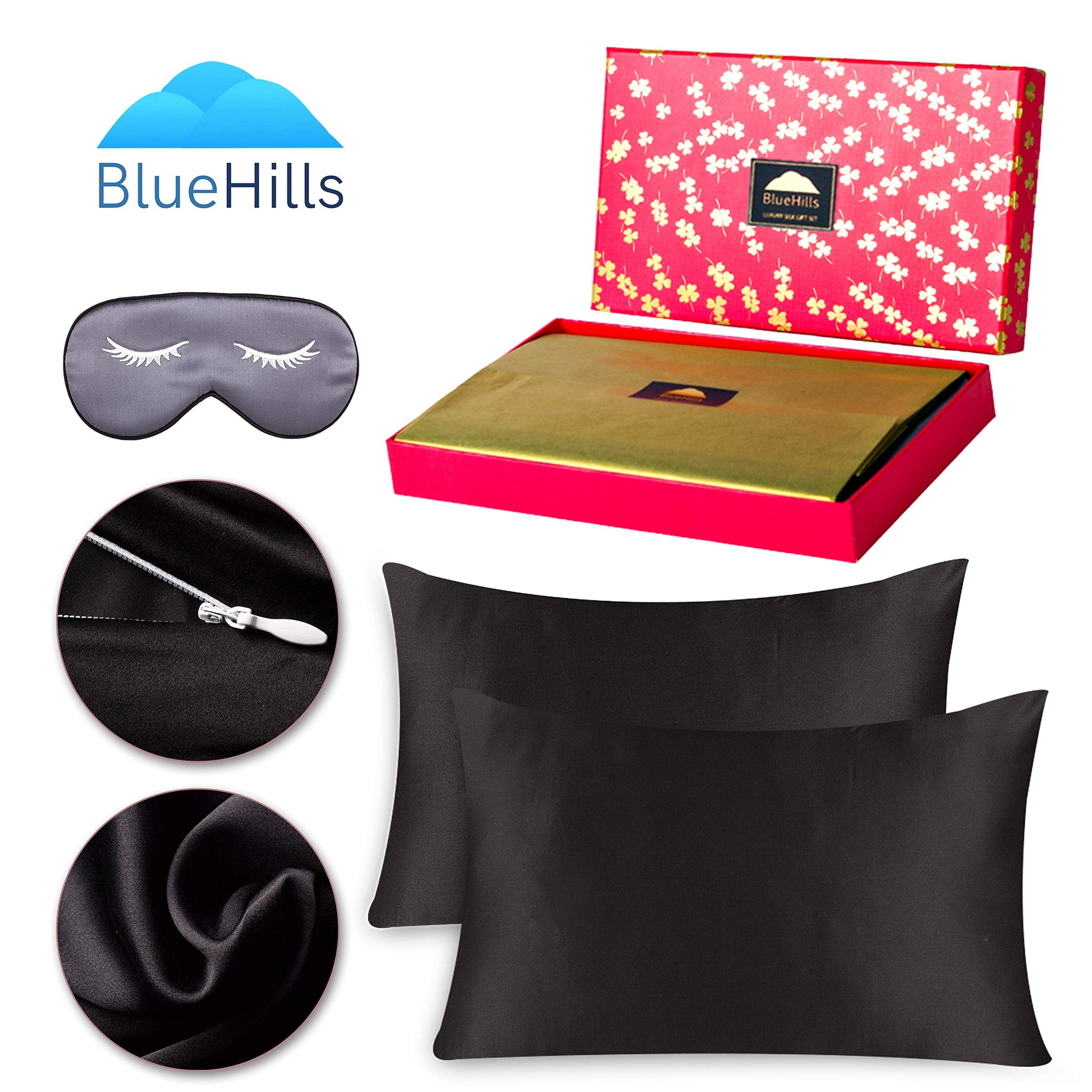 BlueHills Luxury Silk Pillowcase Gift Set - 100% Pure Mulberry Natural Soft Both Sides Silk Pillowcase 2 Pack for Hair and Skin & 1 Pure Silk Eye Mask Gift Box 3 Piece Set Black Color Standard S009