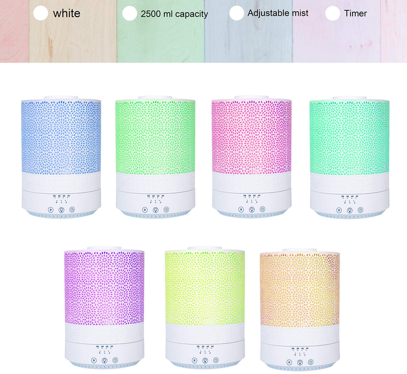 BlueHills 2500 ML XL Essential Oil Diffuser Aroma Humidifier with Timer for Large Home Decor Baby Rooms Big Huge 2.5 L Capacity Long Run Color Changing Lights with Decorative Design - F002