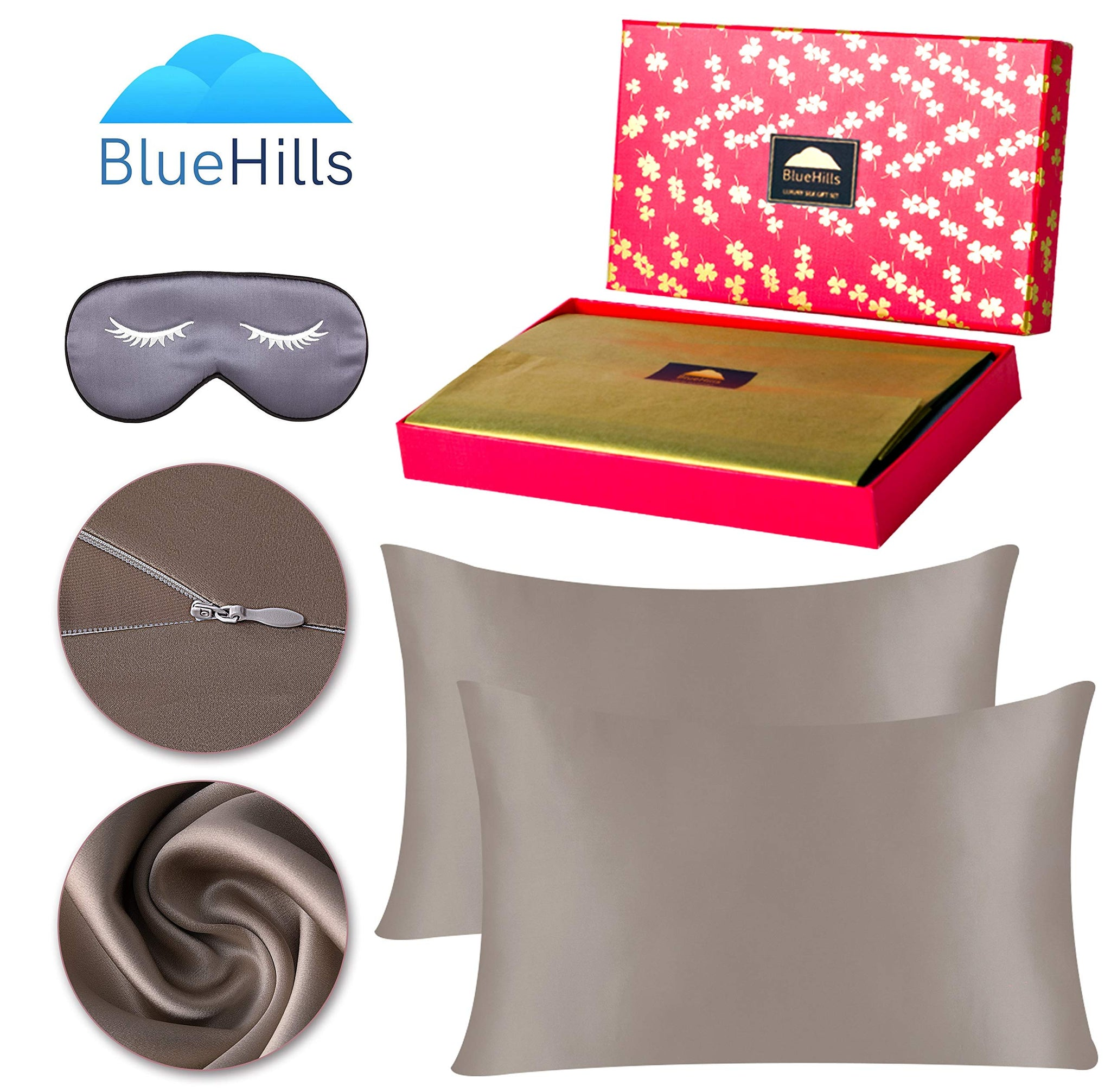 BlueHills 19 Momme Pure Mulberry Silk Pillowcase 3 piece Gift set - Standard- Taupe