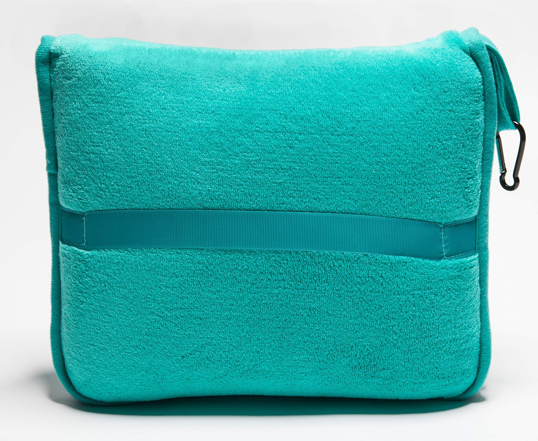 BlueHills Premium Memory Foam Neck Travel Twist Airplane Pillow in Super Soft Velvet Cover & Travel Accessories in Carry case Bag with Hand Luggage Belt and Carabiner Teal Green (NeckPillow-Teal)