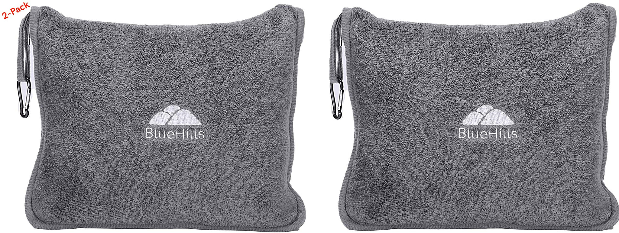 BlueHills 2-Pack Premium Soft Travel Blanket Pillow Airplane Blanket in Soft Bag Pillowcase with Hand Luggage Belt and Backpack Clip, Compact Pack Large Blanket for Any Travel (Grey Gray T013)