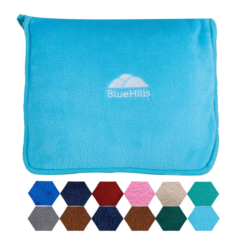 BlueHills Premium Soft Travel blanket pillow - Sky Blue
