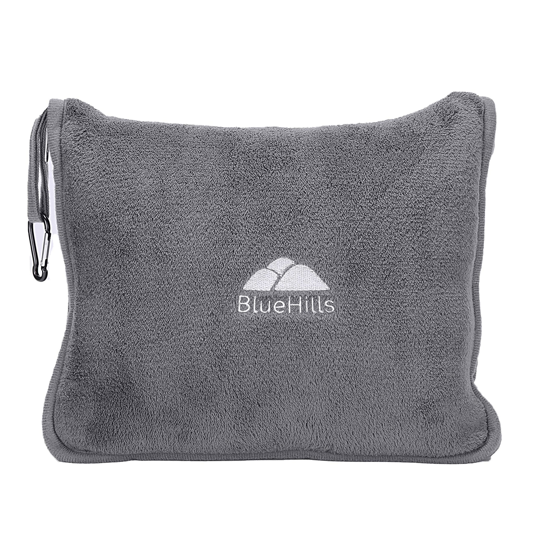 BlueHills Premium Soft Travel Blanket Pillow Airplane Flight Blanket throw in Soft Bag Pillow case with Hand Luggage Belt and Backpack Clip Compact Pack Large Blanket for Travel Grey Color (Gray T007)