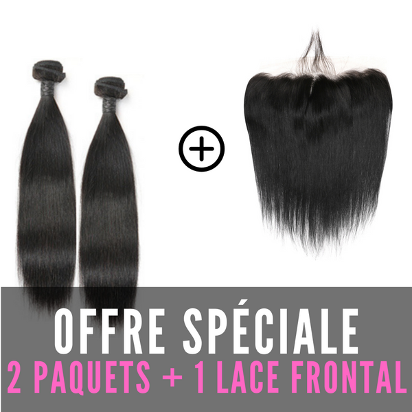 FULL SET 2 PAQUETS MALAYSIAN REMY STRAIGHT (LISSE) 100% CHEVEUX NATUREL + LACE FRONTAL FREE STYLE
