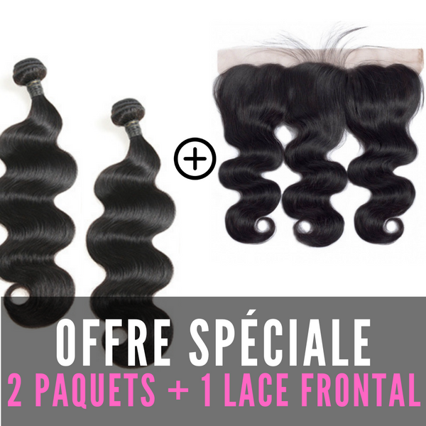 FULL SET 2 PAQUETS BRÉSILIENS REMY BODY WAVE 100% CHEVEUX NATUREL + LACE FRONTAL FREE STYLE