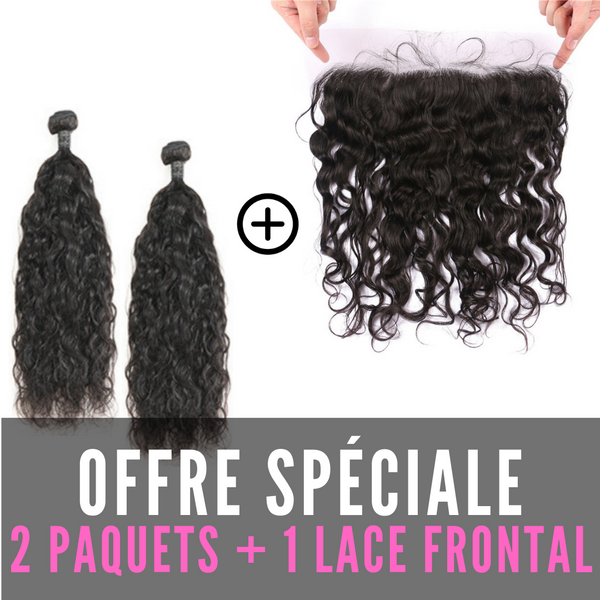 FULL SET 2 PAQUETS BRÉSILIENS REMY NATUREL WAVE 100% CHEVEUX NATUREL + LACE FRONTAL FREE STYLE