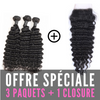 FULL SET 3 PAQUETS BRÉSILIENS REMY DEEP WAVE 100% CHEVEUX NATUREL + CLOSURE  4X4 FREE STYLE