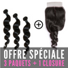 FULL SET 3 PAQUETS BRÉSILIENS REMY LOOSE WAVE 100% CHEVEUX NATUREL + CLOSURE  4X4 FREE STYLE