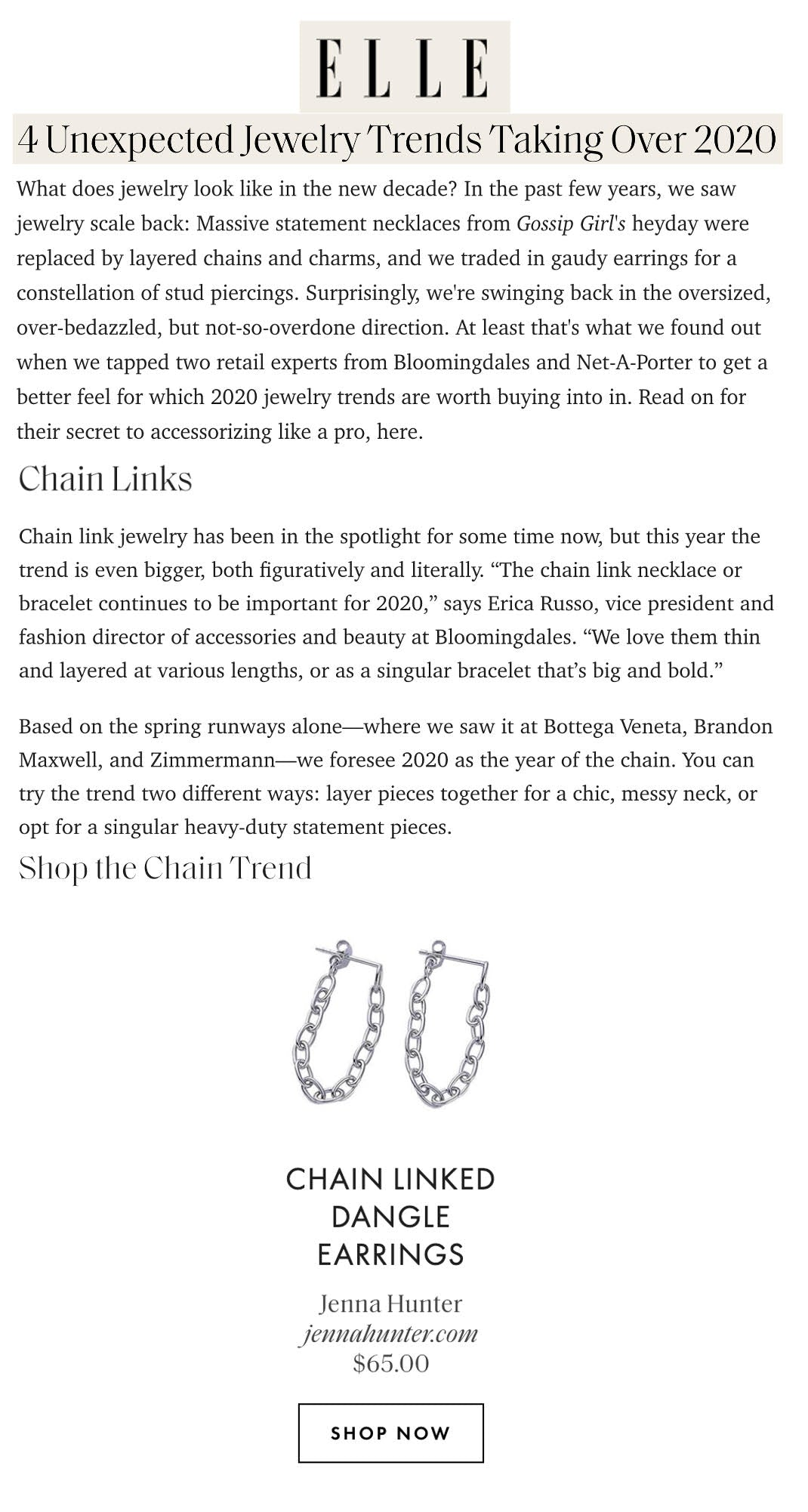 Elle 4 unexpected jewelry trends taking over 2020