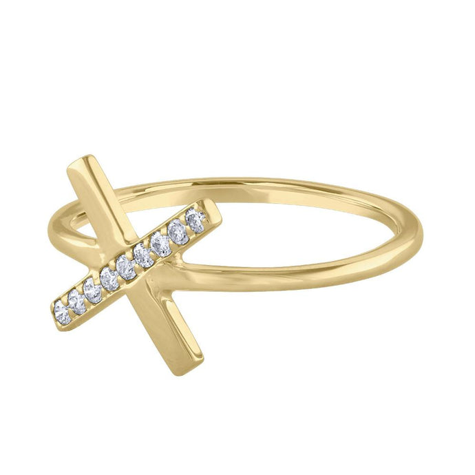 Diamond X Ring - Yellow Gold