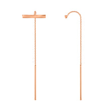 Double Bar Threader Earrings - Rose Gold