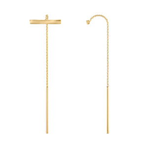 Double Bar Threader Earrings - Yellow Gold