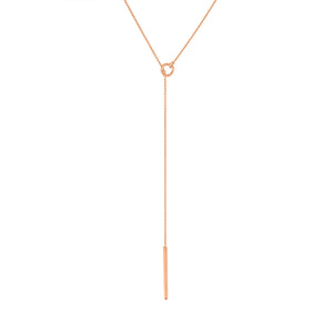 Hoop & Thread Necklace - Rose Gold