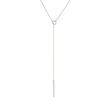 Hoop & Thread Necklace - White Gold
