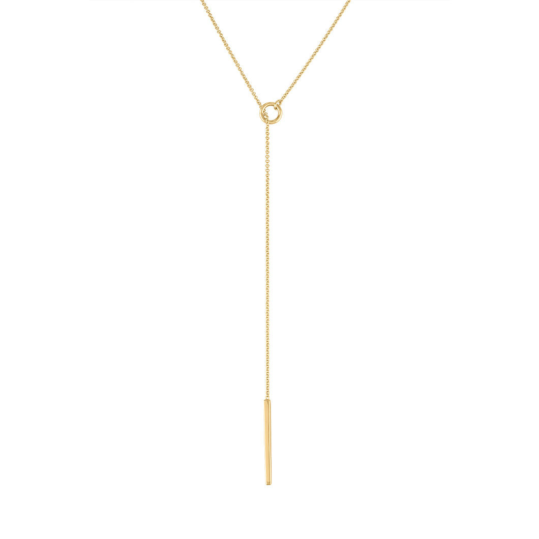 Hoop & Thread Necklace - Yellow Gold