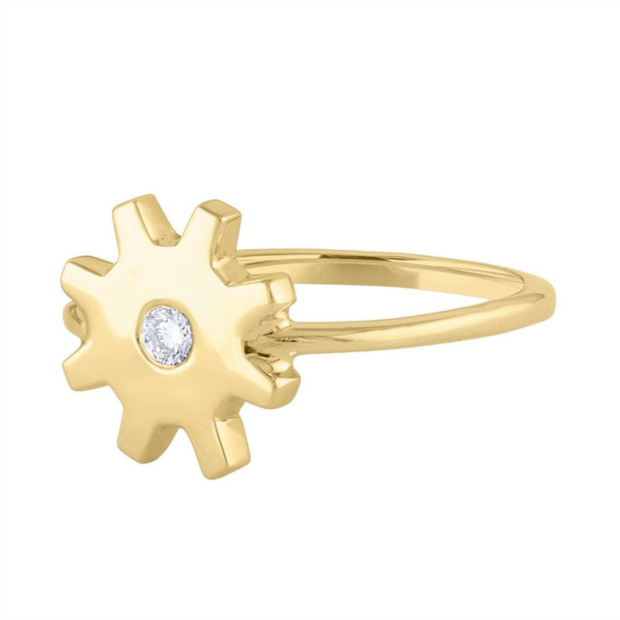 Diamond Gear Ring - Yellow Gold