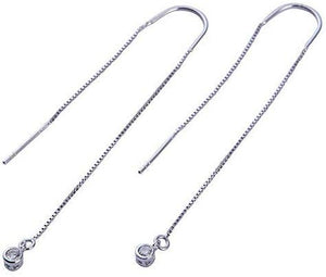 Bezel Drop Threader Earrings - White Gold