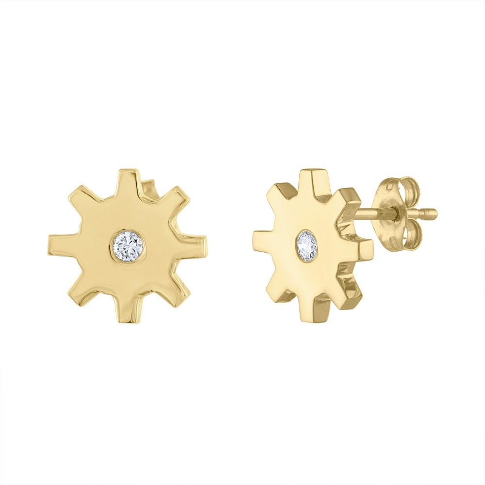 Diamond Gearrings - Yellow Gold