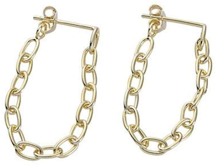 Chain Linked Dangle Earrings - Yellow Gold