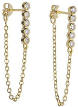Lined Bezel Dangle Earrings - Yellow Gold
