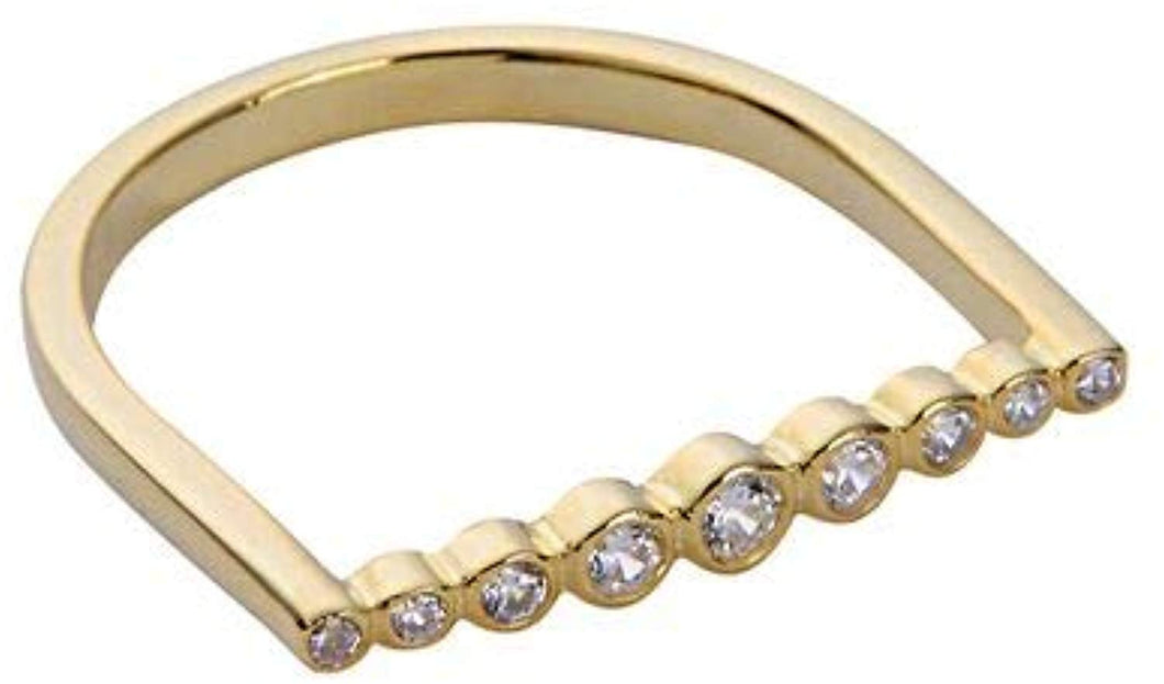 Lined Bezel Bar Ring - Yellow Gold White Stones