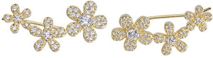 Daisy Crawler Earrings - Yellow Gold