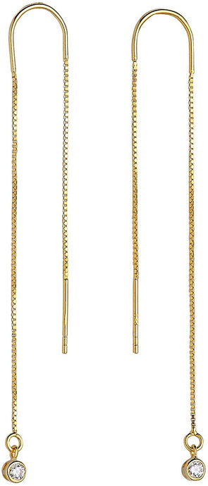 Bezel Drop Threader Earrings - Yellow Gold