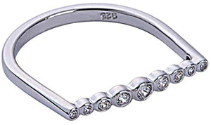 Lined Bezel Bar Ring - White Gold White Stones