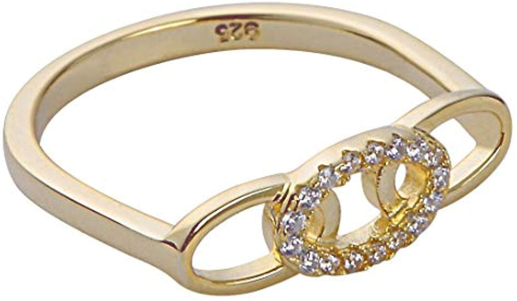 Triple Link Bar Ring - Yellow Gold