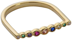 Lined Bezel Bar Ring - Yellow Gold Rainbow Stones