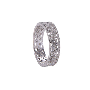 Geometric Statement Band - White Gold