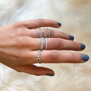 Geometric Statement Band - White Gold Lifestyle Photo