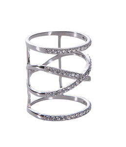 Wires Crossed Ring - White Gold