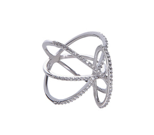 Twisted Links Ring - White Gold