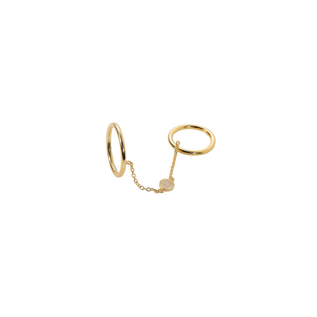 Chain Linked Disc Ring - Yellow Gold