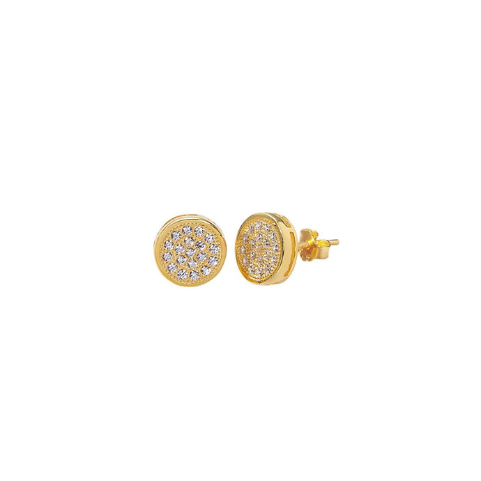 Gold Plated & Pavé Disc Stud Earrings - Yellow Gold