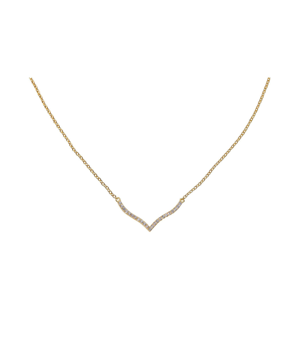 Lone Wave Necklace - Yellow Gold