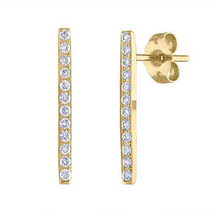 Pavé Bar Earrings - Yellow Gold