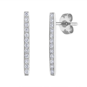 Pavé Bar Earrings - White Gold