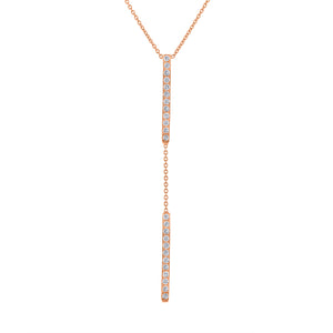 Double Bar Lariat - Rose Gold