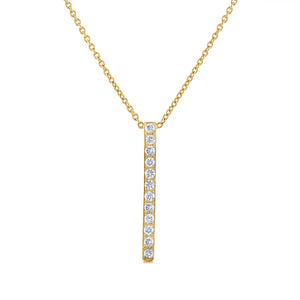 Pavé Bar Pendant - Yellow Gold