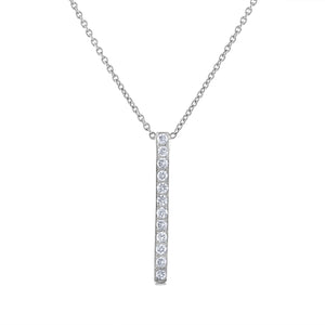 Pavé Bar Pendant - White Gold
