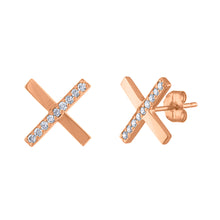 Diamond X Earrings - Rose Gold