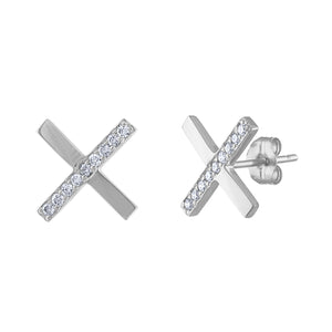 Diamond X Earrings - White Gold